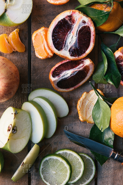 Fresh fruits and citrus cut open at farm stand grocery store