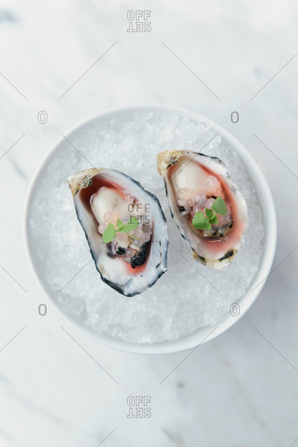 Oyster halves on a bed of ice at gastronomic restaurant
