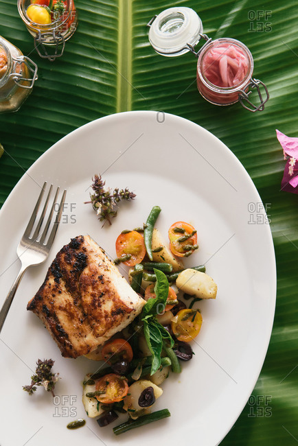 Overhead close up of healthy tropical seafood feast