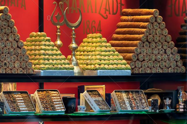February 19, 2018: Shop window of Hafiz Mustafa baklava sweet shop. Istanbul, Turkey