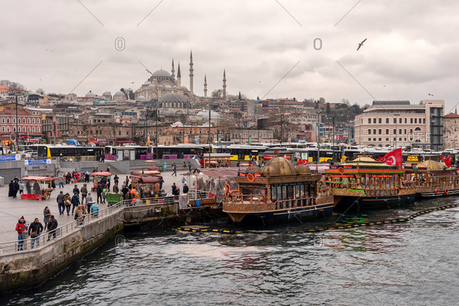 February 19, 2018: Some people walking in port of Istanbul. Istanbul, Turkey