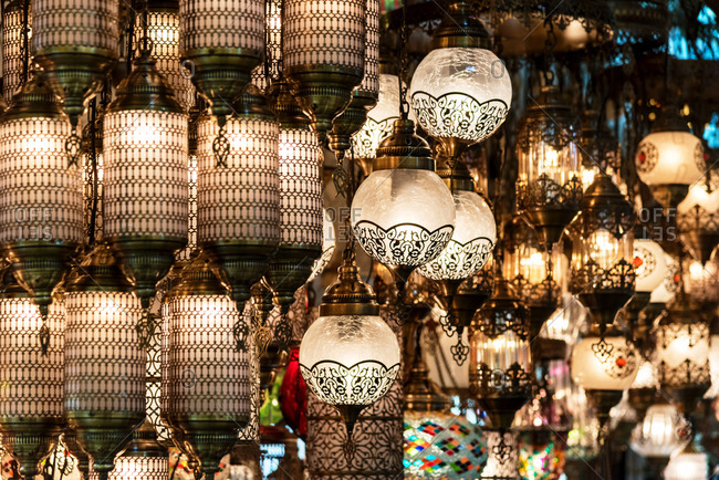 Traditional Turkish souvenir lamps and candles at Grand Bazaar