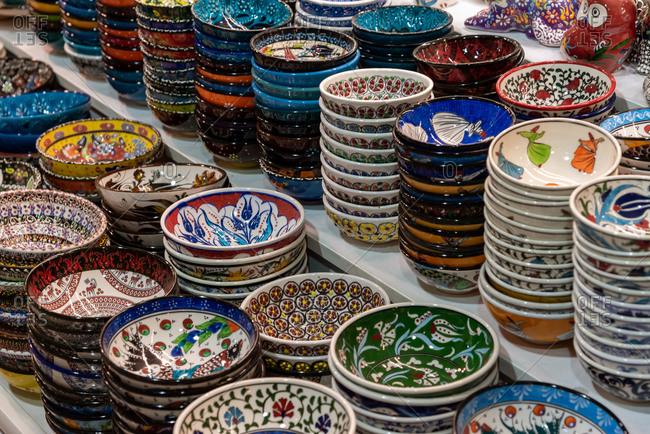 February 20, 2018: Classical Turkish ceramics on the Istanbul Grand Bazaar. Istanbul, Turkey