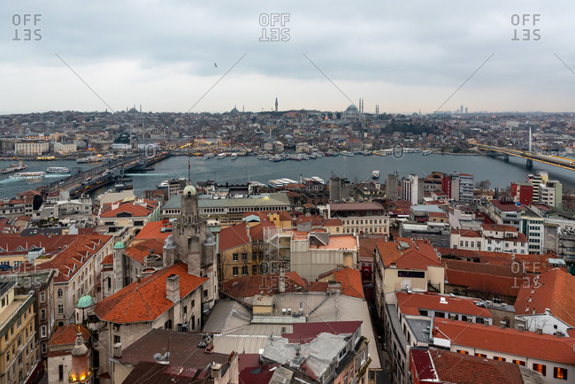February 20, 2018: The Istanbul skyline at dusk as seen from the Galata Tower. Istanbul, Turkey