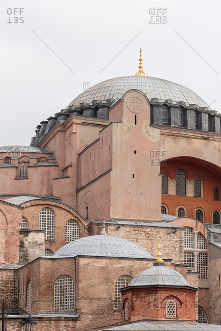 Close up of the upper section and dome of the Hagia Sophia in Istanbul