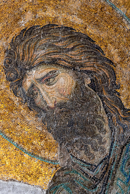 February 21, 2018: Mosaic of John the baptist inside Haghia Sophia Mosque. Istanbul, Turkey