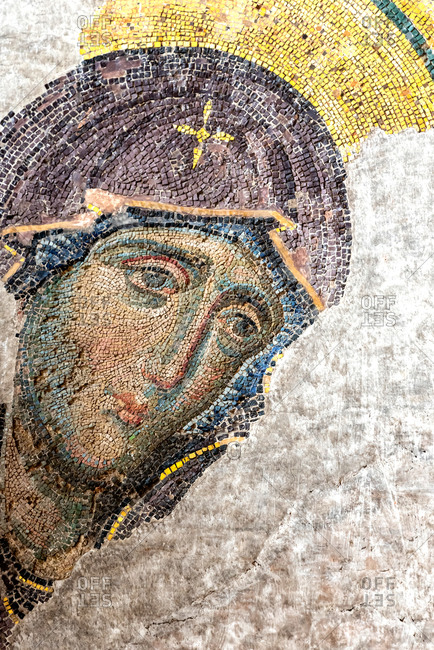 February 21, 2018: Mosaic of Virgin Mary inside Haghia Sophia Mosque. Istanbul, Turkey
