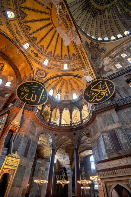 February 21, 2018: The interior of Hagia Sofia. Istanbul, Turkey