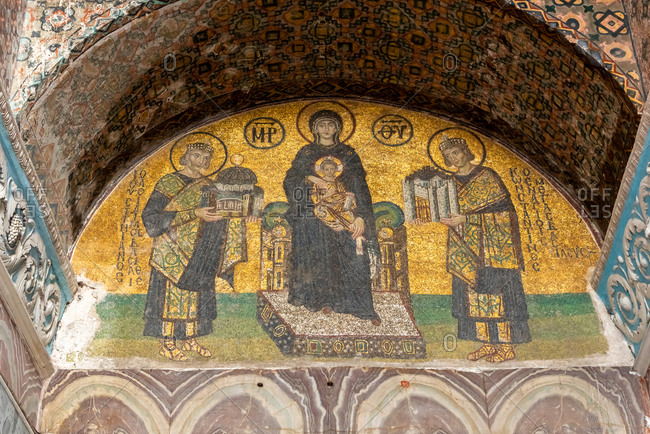 February 21, 2018: Mosaic of 12th century inside Haghia Sophia Mosque. Istanbul, Turkey