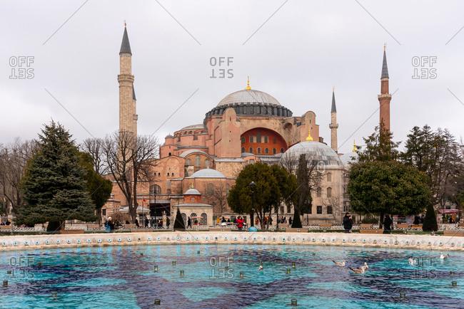 February 21, 2018: Fountain in front of  Hagia Sophia. Istanbul, Turkey