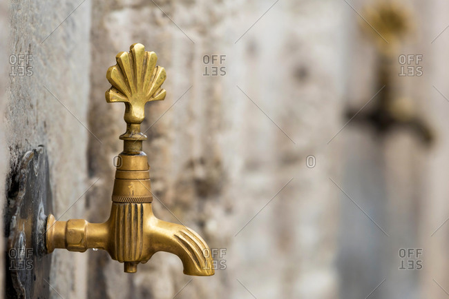 Ablution water tap in a mosque in Istanbul, Turkey