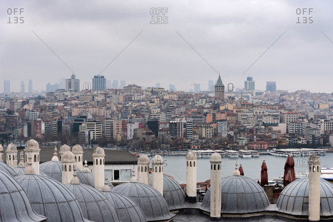 February 22, 2018: View over Istanbul through the domes and chimneys of the Suleymaniye Complex. Istanbul, Turkey