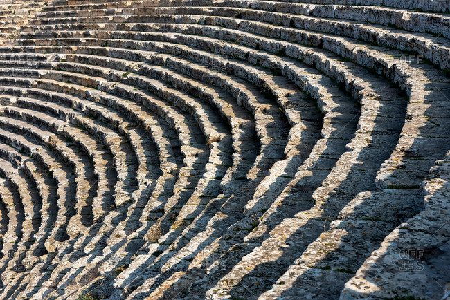 Ancient amphitheater Pamukkale in the ancient city of Hierapolis, Pamukkale, Turkey