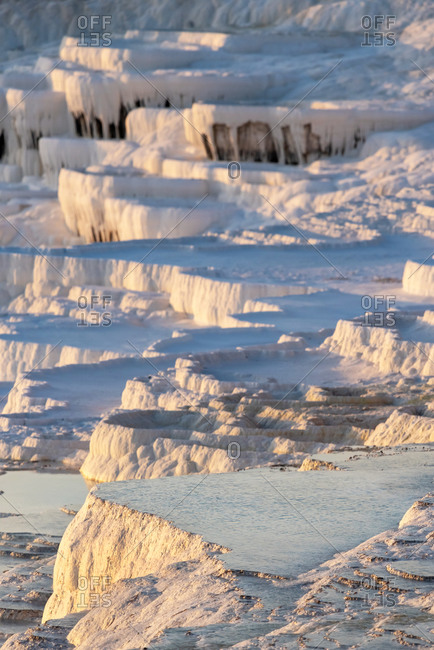 Natural pools in limestone mountains in Pamukkale, Turkey