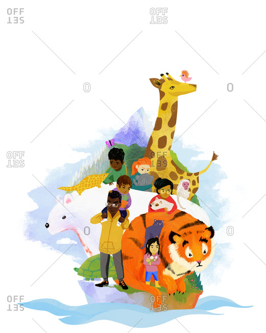 Multiracial group of people looking sad white surrounded by various animals