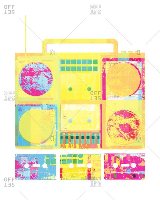 Colorful retro boom box - Offset