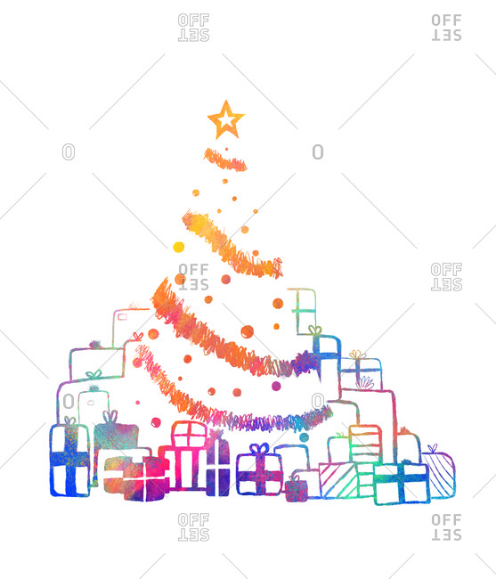 Christmas tree with multicolored presents and decorations