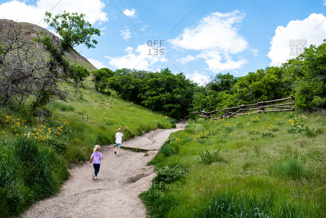 Rear view of two little girls walking on a rural path