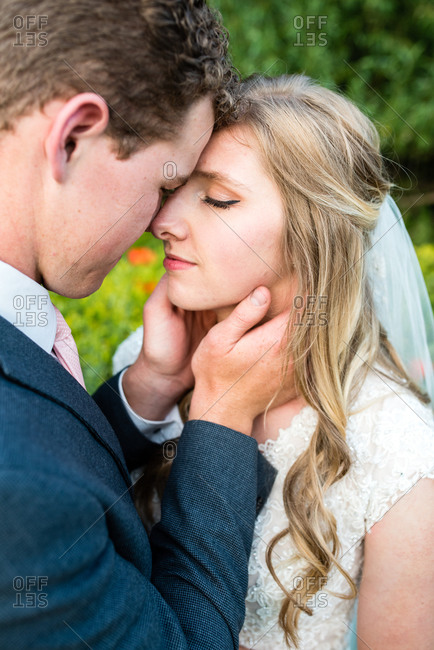 Bride and groom sharing an intimate moment