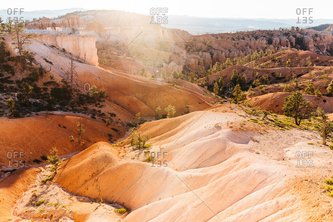 Golden hour at Devils Garden in Arches National Park near Moab, Utah