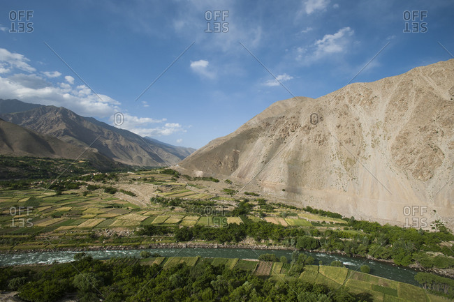 A river flowing through the Panjshir valley in Afghanistan