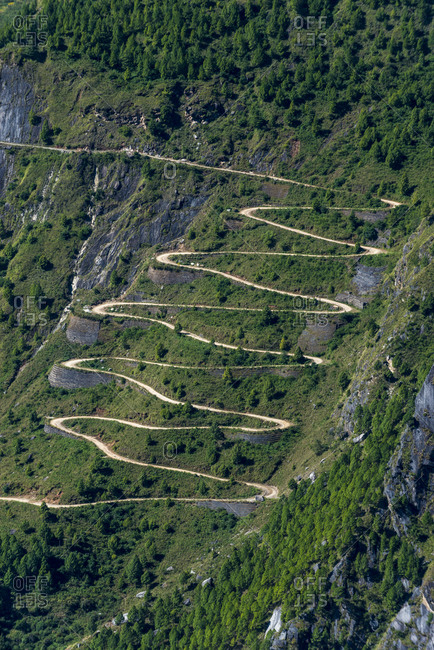 Hairpin turns on a mountain road in the Langtang region of Nepal
