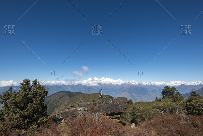 A view of the Himalayas and Ganesh Himal from the trail above Sian Gompa in the Langtang region of Nepal