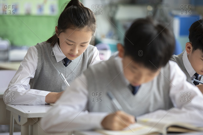 Chinese students learning in classroom