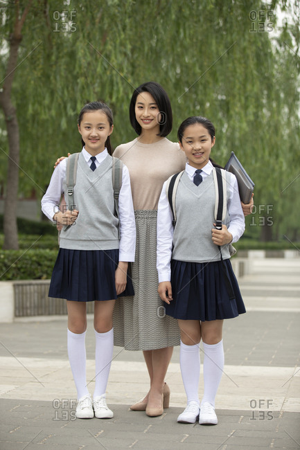 Chinese teacher and students on campus