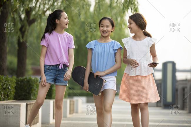 Teenager girls having fun outdoors