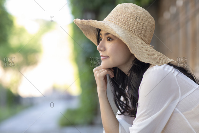 Young Chinese woman enjoying vacation