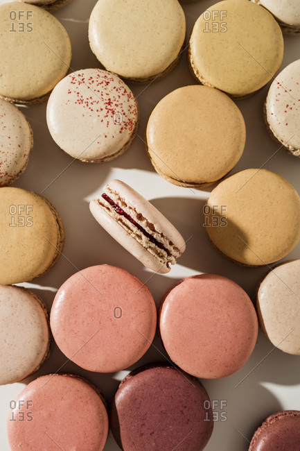 Close up of a variety of macarons