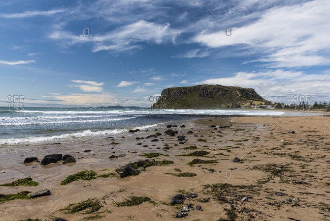 Beach view of The Nut in Stanley, Tasmania, Australia