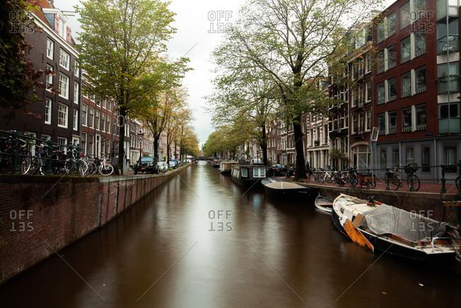 Amsterdam, Netherlands - May 6, 2020: View of canal