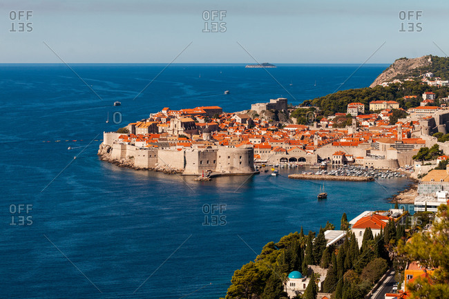 Croatia - May 6, 2020: View of harbor and old town