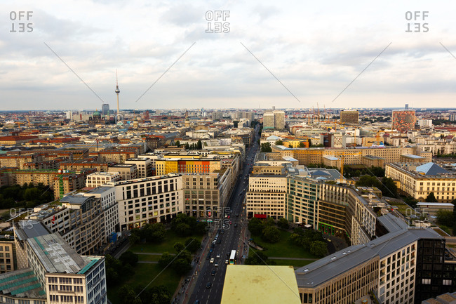 Berlin, Germany - May 7, 2020: Aerial view of Berlin cityscape
