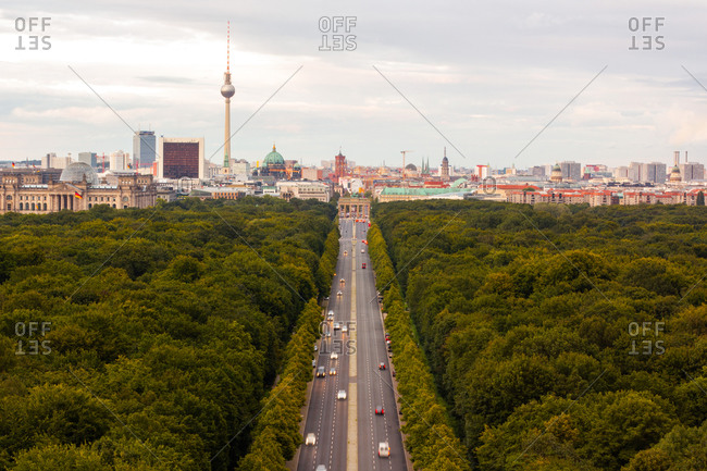 Berlin, Germany - May 7, 2020: Aerial view of Berlin cityscape and road