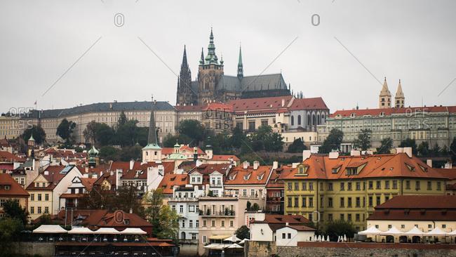 Prague, Czech Republic - May 7, 2020: Prague Castle and St. Vitus Cathedral