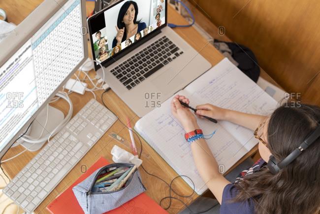 Girl attending online school classes from home