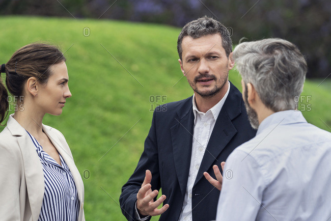 Businesspeople talking in public park