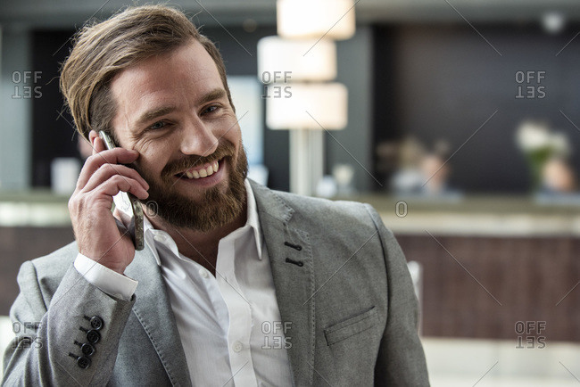 Businessman talking on smart phone