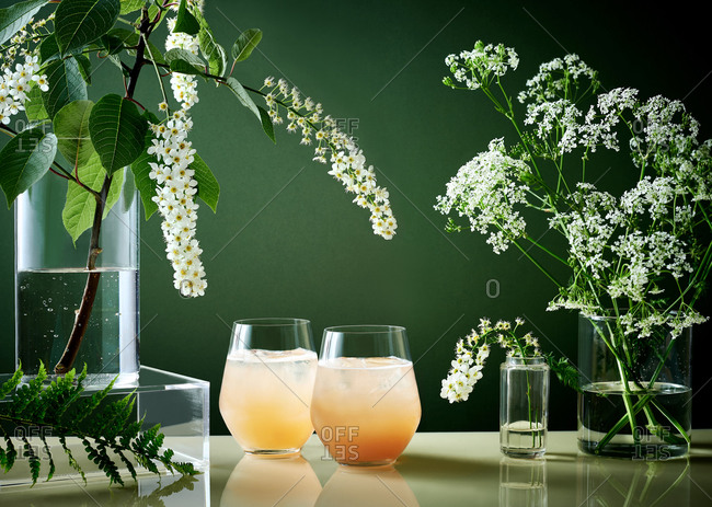 Glasses of gin and fruit cocktails with glass vessels filled with wild flowers against a green background