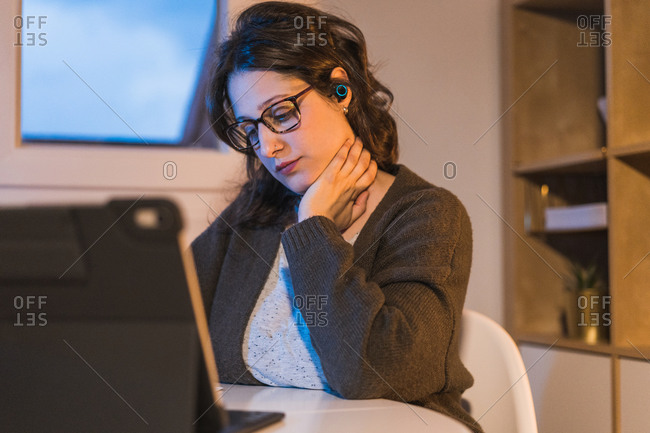 White woman working from home