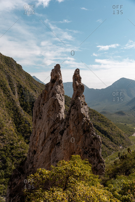 Spires in the mountains of Potrero Chico a rock climbing destination