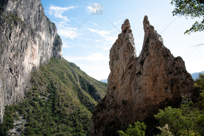 Spires in the mountains of Potrero Chico, rock climbing landscape