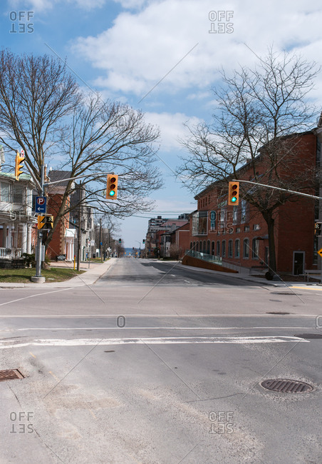 Kingston, Ontario - April 18, 2020: Empty city streets during Covid 19 pandemic.