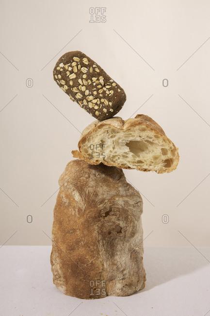 Towering Bread Rolls Still Life
