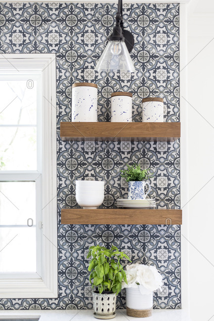 Modern Farmhouse Open Kitchen Shelves with Patterned Tile