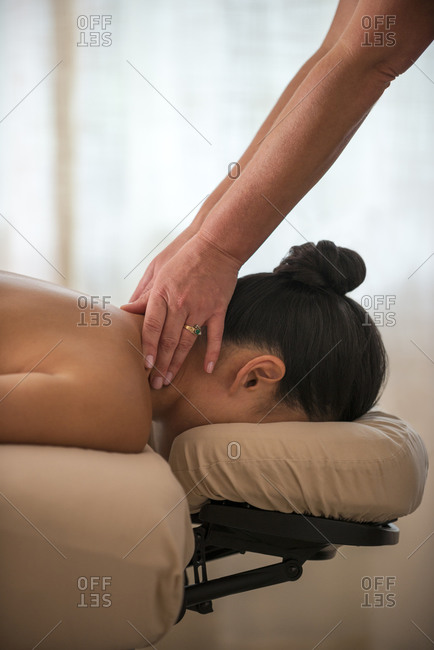 A woman getting a massage in the Edgewood spa in Stateline, Nevada.