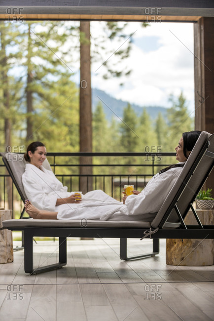 Two women relaxing at the Spa at Edgewood in Stateline, Nevada.